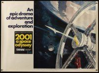 3s007 2001: A SPACE ODYSSEY subway poster '68 Kubrick, art of space wheel by Bob McCall!