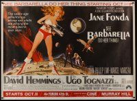 3s008 BARBARELLA subway poster '68 sexy sci-fi art of Jane Fonda by Robert McGinnis, Roger Vadim!
