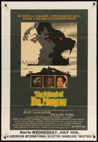 3s020 ISLAND OF DR. MOREAU half subway '77 Michael York, mad scientist Burt Lancaster, cool art!