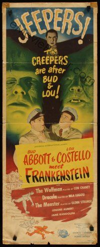 3t013 ABBOTT & COSTELLO MEET FRANKENSTEIN insert '48 Wolfman & Dracula are after Bud & Lou!