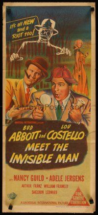 3w031 ABBOTT & COSTELLO MEET THE INVISIBLE MAN Aust daybill '51 art of detectives Bud & Lou!