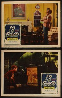 3w170 13 GHOSTS 2 LCs '60 William Castle haunted house horror in Illusion-O!