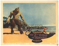 3w210 7th VOYAGE OF SINBAD LC #3 '58 Ray Harryhausen, cool fx scene with Mathews battling Cyclops!