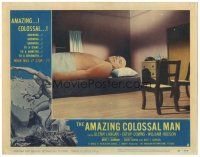 3w213 AMAZING COLOSSAL MAN LC #2 '57 Glenn Langan is trying to get sleep in way-too-small bed!