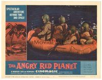 3w217 ANGRY RED PLANET LC #7 '60 great close up of four astronauts rowing in raft on Mars!