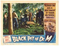 3w226 BLACK PIT OF DR. M LC #5 '61 lots of men in forest holding torches around the pit!