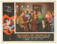 3w229 BLOOD OF DRACULA LC #7 '57 close up of teen girls together at all-girl Halloween party!