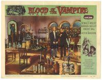 3w230 BLOOD OF THE VAMPIRE LC #2 '58 far shot of Donald Wolfit & Victor Maddern in laboratory!