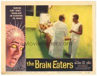 3w231 BRAIN EATERS LC #3 '58 Edwin Nelson & man standing by guy on operating table, cool border art!