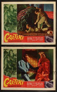 3w173 CALTIKI THE IMMORTAL MONSTER 2 LCs '60 includes cool monster attack special effects scene!