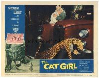 3w234 CAT GIRL LC #5 '57 great image of leopard by car & embracing couple, English horror!