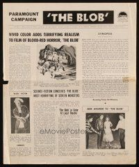 3w340 BLOB pressbook '58 the indescribable & indestructible monster, nothing can stop it!