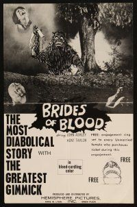 3w008 BRIDES OF BLOOD special 11x17 '68 free engagement ring set to every unmarried female!