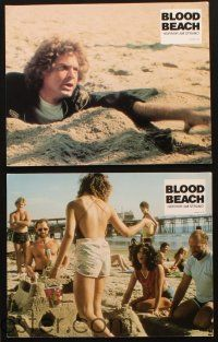 3w080 BLOOD BEACH 5 German LCs '80 wild image of quicksand & what horrible things lie beneath it!