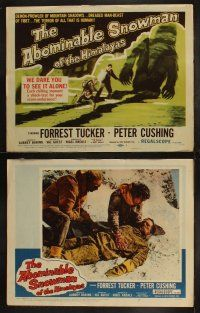 3w101 ABOMINABLE SNOWMAN OF THE HIMALAYAS 8 LCs '57 Peter Cushing, the dreaded man-beast of Tibet!
