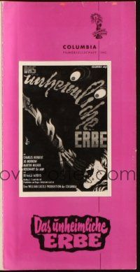 3w086 13 GHOSTS German pressbook '60 William Castle haunted house horror, different art!