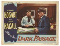 3y037 DARK PASSAGE LC #4 '47 Humphrey Bogart is given the once over by suspicious hotel clerk!
