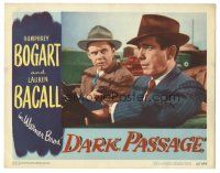 3y039 DARK PASSAGE LC #7 '47 Humphrey Bogart held at gunpoint while driving car by Clifton Young!