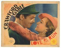 3y056 LOVE ON THE RUN LC '36 close up of Joan Crawford hugging Clark Gable, she knew he'd come!