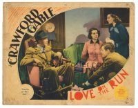 3y062 LOVE ON THE RUN LC '36 Clark Gable & Joan Crawford tie up Franchot Tone & a woman!