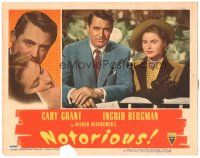 3y029 NOTORIOUS LC #2 '46 c/u of Cary Grant & Ingrid Bergman at the race track, Hitchcock classic!