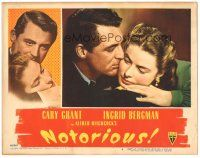 3y028 NOTORIOUS LC #4 '46 romantic c/u of Cary Grant & Ingrid Bergman, Alfred Hitchcock classic!