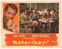3y031 NOTORIOUS LC #6 '46 Cary Grant, Ingrid Bergman & Claude Rains have drinks together!