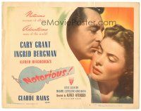 3y027 NOTORIOUS TC '46 c/u of Cary Grant & Ingrid Bergman, Alfred Hitchcock classic!