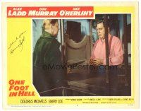 3y019 ONE FOOT IN HELL signed LC #4 '60 by Alan Ladd, who's talking to man behind counter!