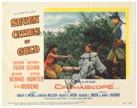 3y021 SEVEN CITIES OF GOLD signed LC #6 '55 by Anthony Quinn, on a scene w/ priest Rennie & Moreno!