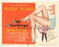 3y001 SILK STOCKINGS signed TC '57 by Cyd Charisse, giant image of her sexy legs + with Astaire!