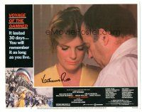 3y024 VOYAGE OF THE DAMNED signed LC #6 '76 by Katharine Ross, who's close up with Nehemiah Persoff