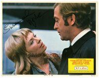 3y026 X Y & ZEE signed LC #3 '71 by Susannah York, who's close up staring at Michael Caine!