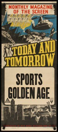 4e981 TODAY  TOMORROW stock Aust daybill 40s cool newsreel stone litho Sports Golden Age