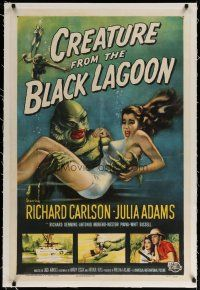 4f030 CREATURE FROM THE BLACK LAGOON linen 1sh '54 great art of monster holding sexy Julie Adams!