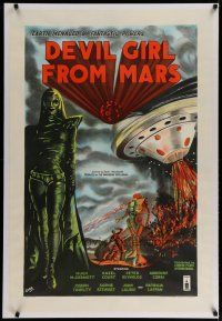 4f072 DEVIL GIRL FROM MARS linen English 1sh '55 Robb art of Earth menaced by sexy female alien!