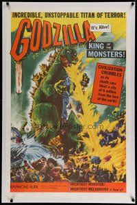 4f083 GODZILLA KING OF THE MONSTERS linen 1sh '56 Gojira, art of the unstoppable titan of terror!