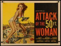 4f218 ATTACK OF THE 50 FT WOMAN 1/2sh '58 classic art of enormous Allison Hayes over highway!