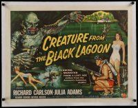 4f031 CREATURE FROM THE BLACK LAGOON linen style B 1/2sh '54 Reynold Brown art of monster & divers!