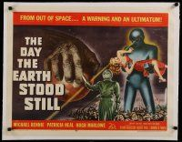 4f001 DAY THE EARTH STOOD STILL linen 1/2sh '51 classic art of Gort holding Patricia Neal!