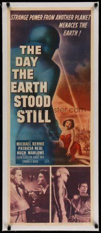 4f002 DAY THE EARTH STOOD STILL linen insert '51 sci-fi classic, art of Gort & scared Patricia Neal