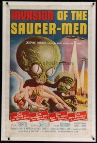 4f142 INVASION OF THE SAUCER MEN linen 1sh '57 classic Kallis art of cabbage head aliens & sexy girl