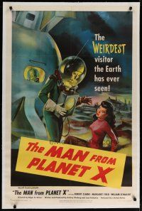 4f003 MAN FROM PLANET X linen 1sh '51 Edgar Ulmer, incredible art of the alien & Margaret Field!