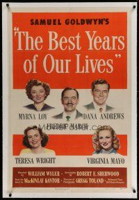 4g037 BEST YEARS OF OUR LIVES linen 1sh '47 Myrna Loy, Fredric March, Teresa Wright, Mayo, Andrews