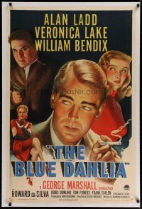 4g050 BLUE DAHLIA linen 1sh '46 art of smoking Alan Ladd, sexy Veronica Lake & William Bendix!