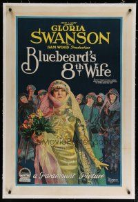 4g052 BLUEBEARD'S 8th WIFE linen 1sh '23 stone litho of Gloria Swanson & her fiance's 7 ex-wives!