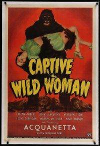4g070 CAPTIVE WILD WOMAN linen 1sh '43 classic image of ape carrying sexy unconscious Acquanetta!