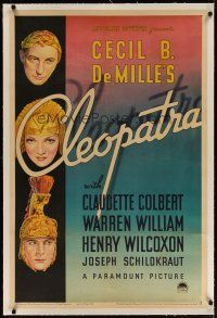 4g081 CLEOPATRA linen 1sh '34 stone litho of Claudette Colbert, William & Wilcoxon, Cecil B DeMille