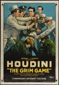 4g001 GRIM GAME linen 1sh '19 incredible stone litho of Harry Houdini restrained by many men!