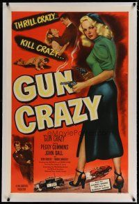4g175 GUN CRAZY linen 1sh '50 great image of thrill crazy bad girl Peggy Cummins, film noir classic